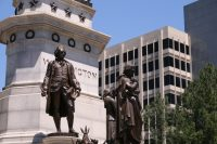George Washington Monument outside Virginia State Capitol, with office building in background, by Thomas Roberts